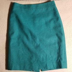 J. Crew Teal Wool Blend Pencil Skirt Sz 0